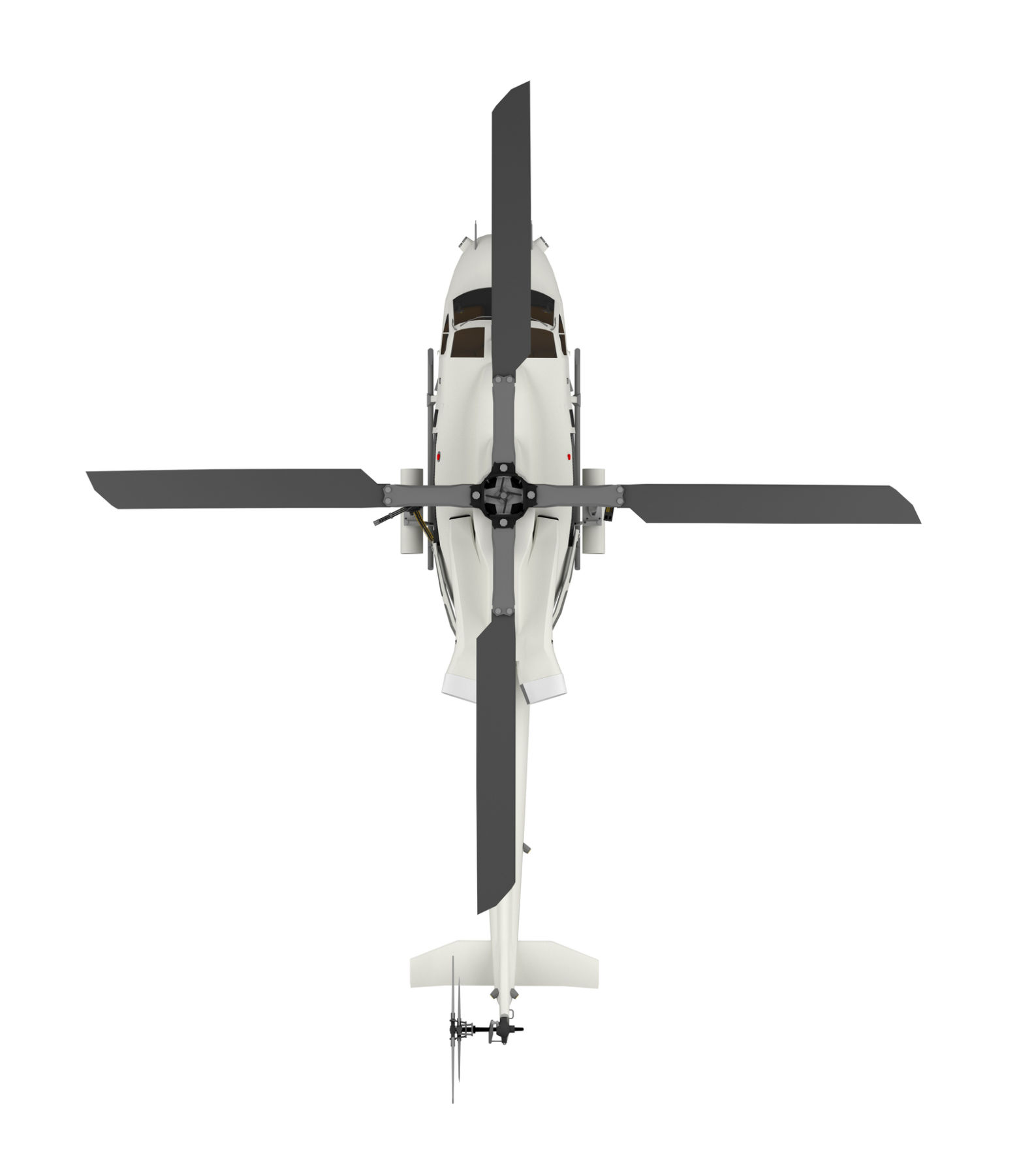 military helicopter top view isolated on white. 3d rendering